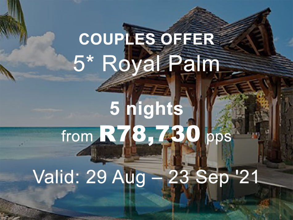 Mauritius Honeymoon Offer 5* luxury Royal Palm